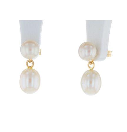 14k Yellow Gold Freshwater Button Pearl Stud & Potato Pearl Drop Earrings