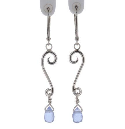 Spiral Moons Studio Baby Blue Quartz Briolette Scroll Earrings in Sterling Silver