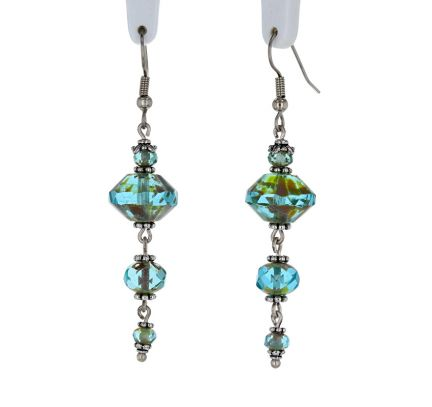 Palpitations Artisan Glass Dangle Earrings with Aqua Rondelles and Pewter Accents