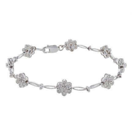 14k White Gold Diamond Cluster Bracelet