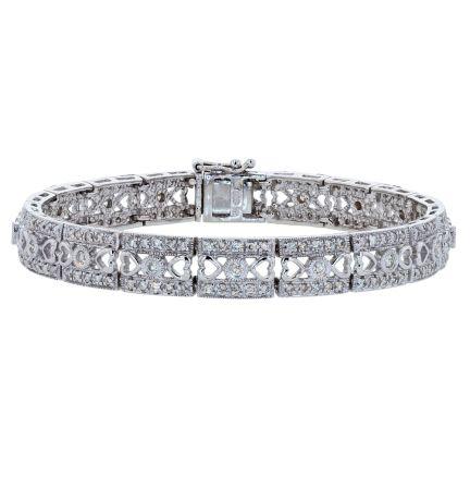 14k White Gold Diamond Filigree Bracelet