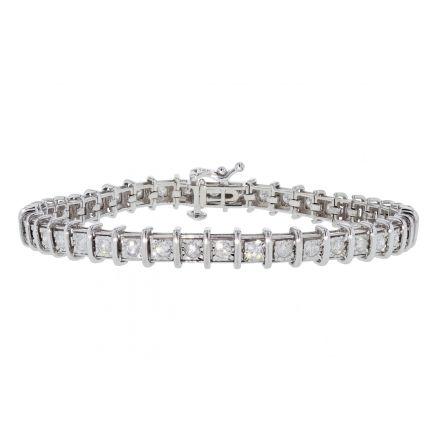 14k White Gold Miracle Set Diamond Tennis Bracelet