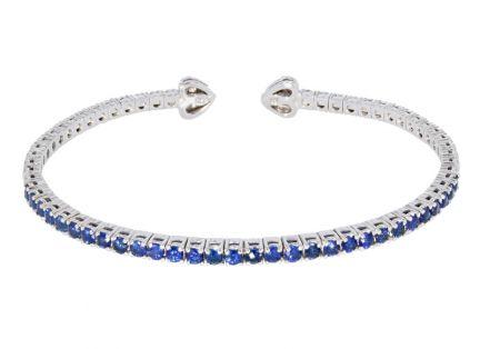 18k White Gold Sapphire Flexible Cuff Bracelet