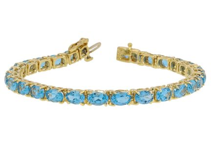 14k Yellow Gold Swiss Blue Topaz Tennis Bracelet