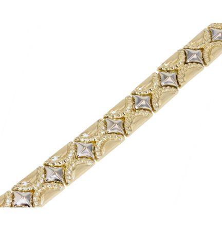 14k Two-Tone Fancy Link Bracelet