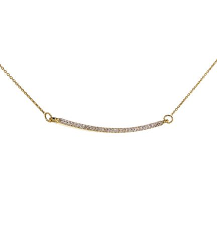 14k Yellow Gold Diamond Bar Cable Necklace