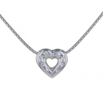 14k White Gold Diamond Heart Slide on Drawn Birdcage Chain