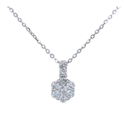 18k White Gold Diamond Cluster Pendant