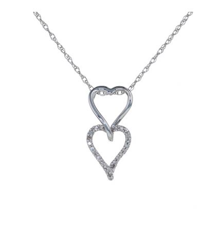 14k White Gold Double Heart Diamond Slide Pendant