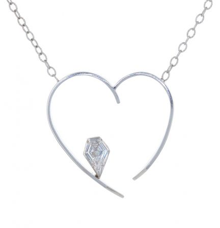 14K White Gold Kite Shape Diamond Open Heart Necklace