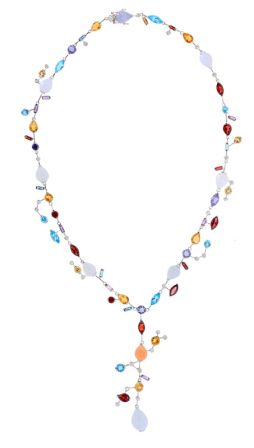 18k White Gold Multi-Color Gemstone & Diamond Necklace
