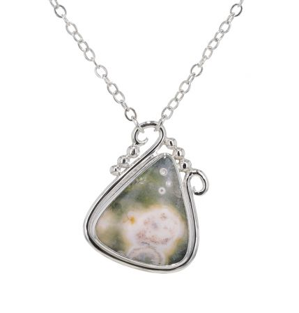 Spiral Moons Studio Ocean Jasper Cabochon Necklace in Sterling Silver