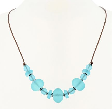 Palpitations Brown Leather Lace Choker With Turquoise Bay Blue Sea Glass