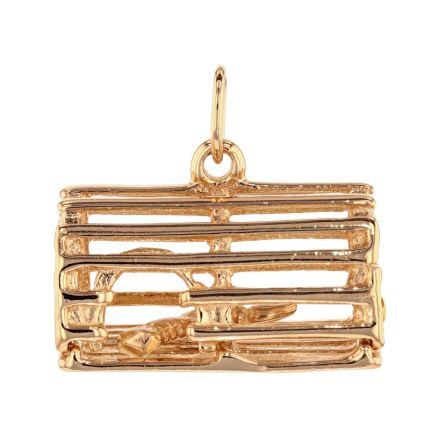 14k Yellow Gold Lobster Caught in Lobster Trap Charm