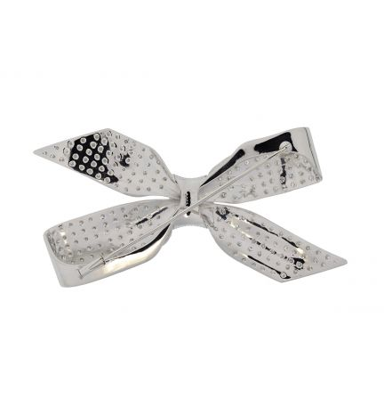 Platinum Vintage Handmade Diamond Bow Brooch
