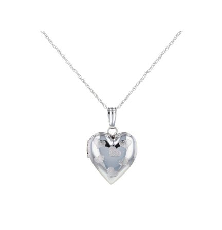 14k White Gold Heart Locket & Lite Rope Chain
