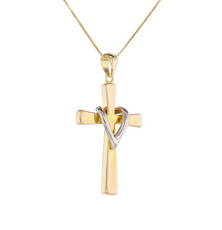 14k Two-Tone Hollow Cross & Box Chain