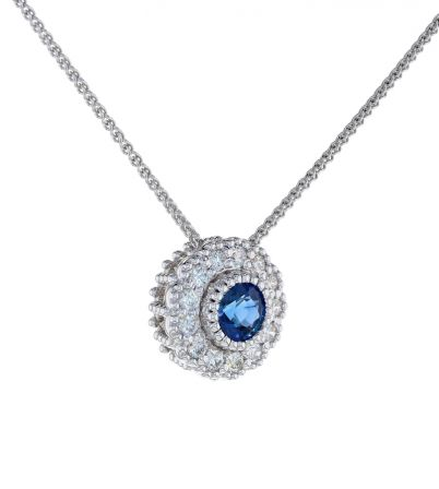 Kristopher Mark Blue Sapphire & Diamond Milgrain Cluster Pendant