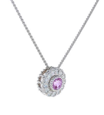 Kristopher Mark Emerald & Diamond Milgrain Cluster Pendant