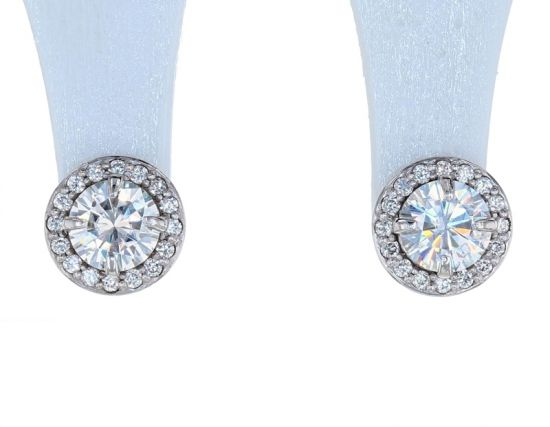 14K White Gold 5mm Round Forever One Moissanite & Diamond Halo Earrings