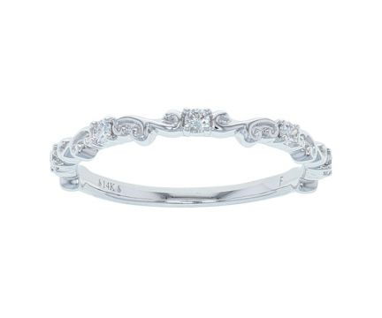 4K White Gold 1/6ctw Diamond Sculptural Anniversary Band