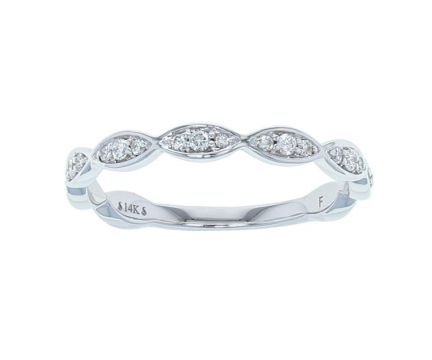 14K White Gold 1/5ctw Diamond Infinity-Inspired Anniversary Band