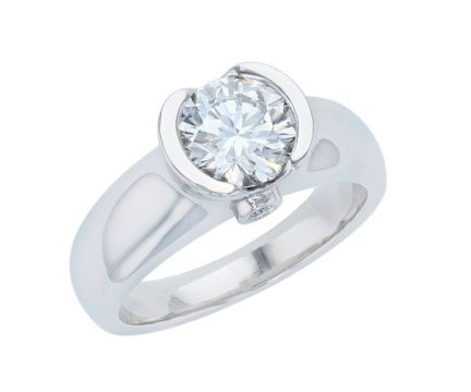 14K White Gold Half Bezel Diamond Semi-Mount Engagement Ring