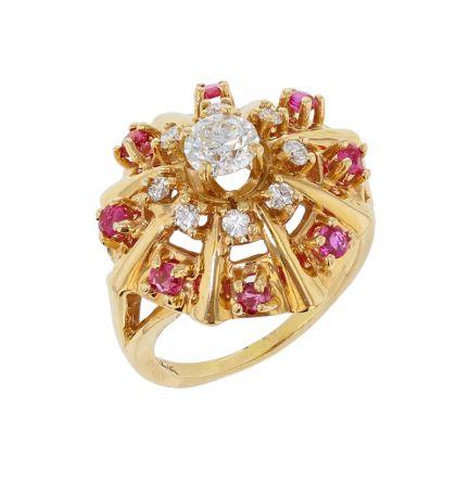 14K Yellow Gold Vintage Diamond & Ruby Ring