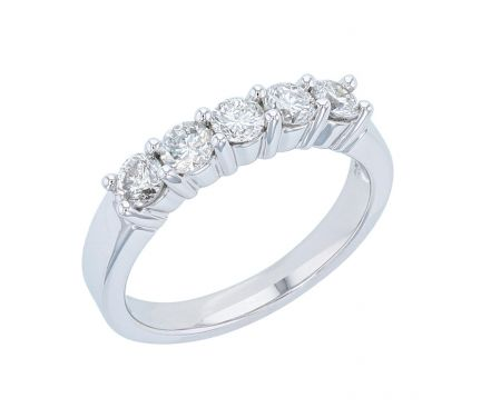14k White Gold 5 Stone Shared Prong Diamond Band