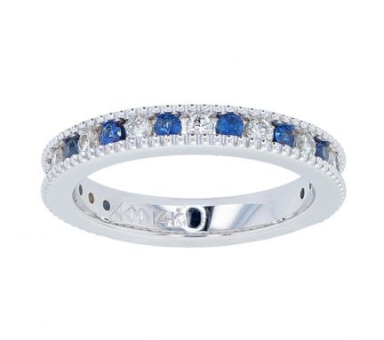 Kristopher Mark Blue Sapphire & Diamond Milgrain Channel Band