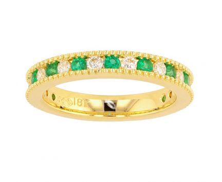 Kristopher Mark Emerald & Diamond Milgrain Channel Band