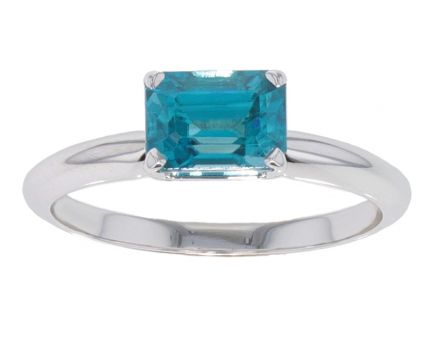 14k White Gold Emerald Cut Blue Zircon Ring