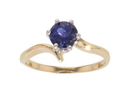 14k Two-Tone Iolite Solitare Ring