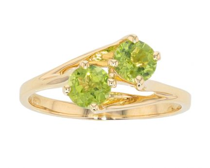 14k Yellow Gold Peridot 2-Stone Freeform Ring