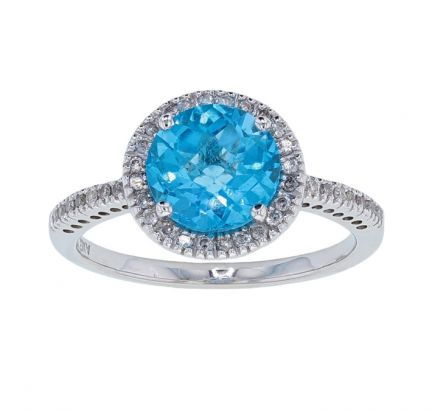 14k White Gold Checkerboard Cut Round Swiss Blue Topaz & Diamond Ring