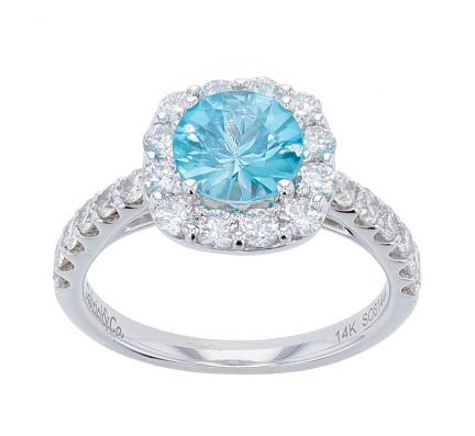 14k White Gold Blue Zircon & Diamond Halo Style Ring