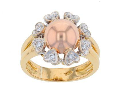 18k Tri-Color Gold & Diamond Ring