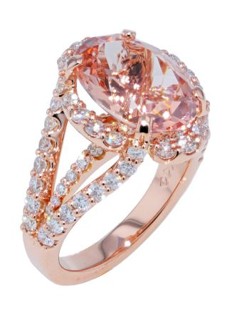 Kristopher Mark Fine Morganite & Diamond Rose Gold Ring