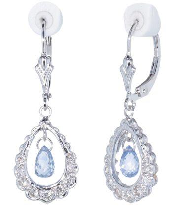 14k White Gold Baby Blue Briolette Sapphire & Diamond Earrings