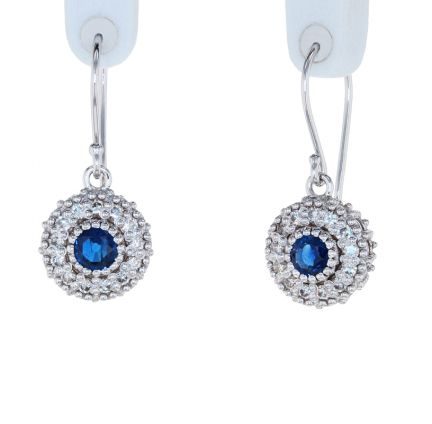 Kristopher Mark Blue Sapphire & Diamond Milgrain Cluster Earrings