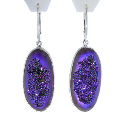 Kristopher Mark Custom Purple Druzy Dangle Earrings