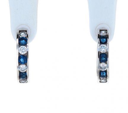 Sterling Silver Blue & White Cubic Zirconia Channel Set Huggie Earrings
