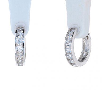 Sterling Silver White Cubic Zirconia Channel Set Huggie Earrings