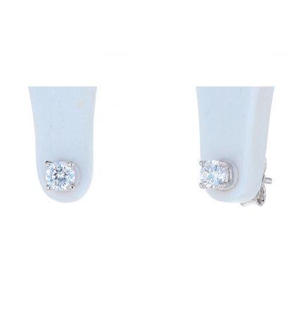 Sterling Silver White Cubic Zirconia 4-Prong Basket Stud Earrings