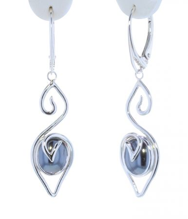 Spiral Moons Studio Hematite Cabochon Earrings in Sterling Silver