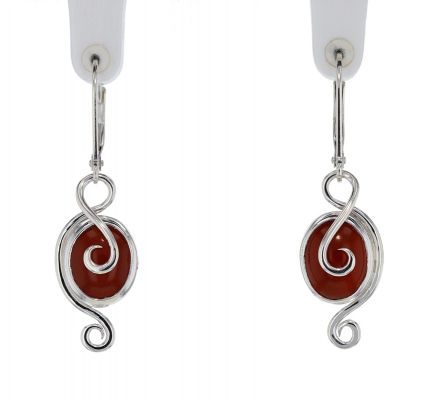 Spiral Moons Studio Carnelian Cabochon Earrings in Sterling Silver