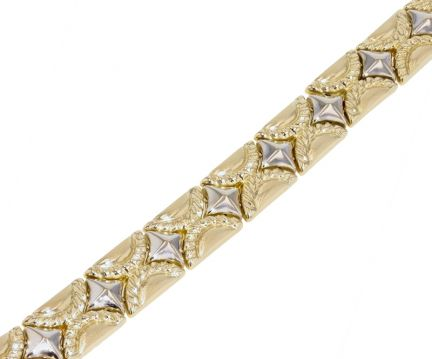 14k Two-Tone Fancy Link Bracelet