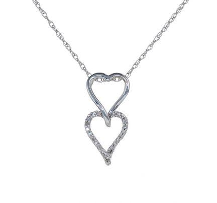 14k White Gold Double Heart Diamond Slide Pendant