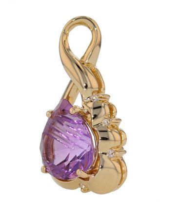 14k Yellow Gold Fancy Cut Pear Shape Amethyst & Diamond Pendant