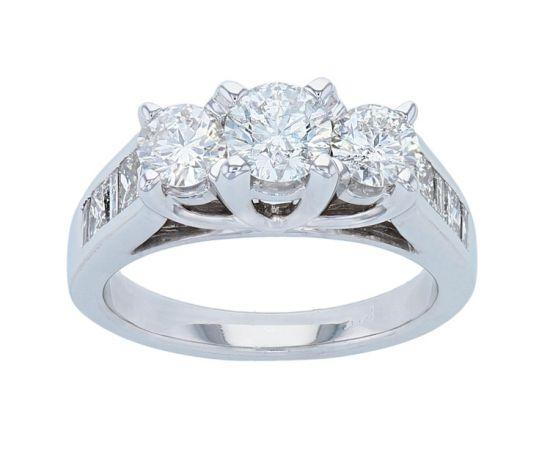 14K White Gold Three Stone Diamond Anniversary Ring